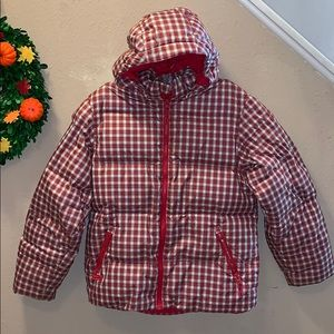 Lands End Red Plaid Puffer Jacket Coat Sz 10 12